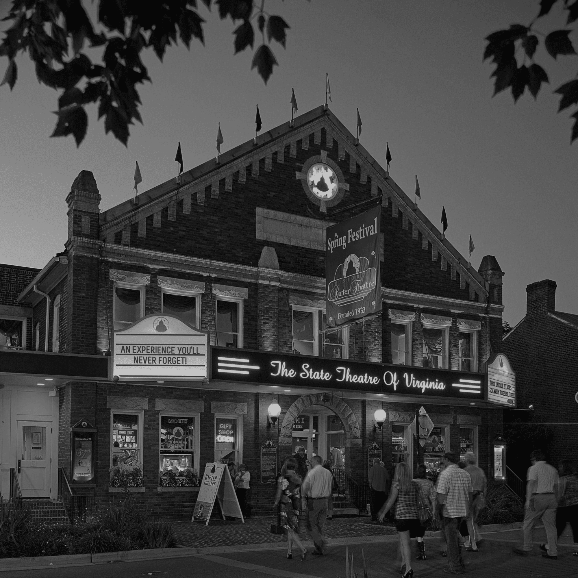 Barter Theatre at Night - Black and White